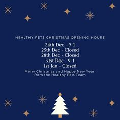 We hope you don't need to contact us over the festive period but if you do please see our amended opening hours 🐱🐶 Wishing you and your pets all the best for a slightly different Christmas this year 🎄🎁 #Christmas #happyholidays #pets #HealthyPetsInsurance Merry Christmas And Happy New Year, Happy Holidays, Healthy Pets, Pet Insurance, Christmas Animals, Your Pet, Festive, Period, Happy Holi