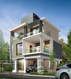 Bedroom ultra modern house plan by Greenline Architects Modern Bungalow Exterior, Modern House Facades, Modern Bungalow House, Modern Exterior House Designs, Modern House Plans, Modern Buildings, Exterior Design, 3 Storey House Design, Bungalow House Design