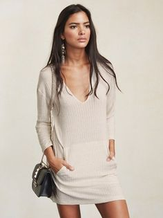 Sometimes you need a little space. The Helix Dress is happy to offer you some of that. This is a medium weight ribbed knit mini dress with a deep V neckline, long sleeves and a front pocket pouch. https://www.thereformation.com/products/helix-dress-natural-city?utm_source=pinterest&utm_medium=organic&utm_campaign=PinterestOwnedPins
