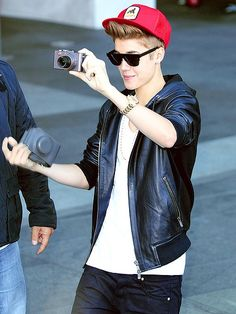 Justin Bieber using his new camera