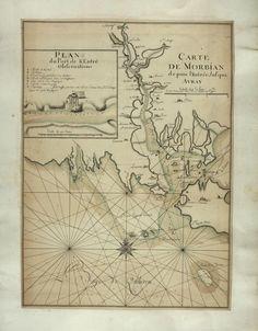 1700s map of Auray river, Golfe du Morbihan