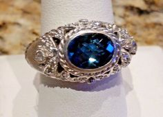 Judith Ripka Sterling Silver Checker London Blue Topaz Clear CZ Dome Ring Sz 10 #JudithRipka #Band