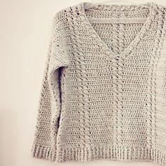 Crochet PATTERN (pdf file) - Cable V-neck Sweater. by monpetitviolon, via Etsy.