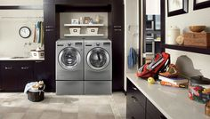 Keep your laundry room organized with cabinets around your washer & dryer. Kitchen cabinets can be used anywhere!