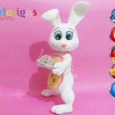 {:en}Easter Bunny Joey - This is a Easter Bunny crochet pattern for your amigurumi jobs. Pattern is very detail and includes plenty of pictures.{:tr}This is a Bonnie Doll with Flower Costume crochet pattern for your amigurumi jobs{:} Easter Bunny Crochet Pattern, Knitted Bunnies, Knitted Animals, Crochet Patterns Amigurumi, Amigurumi Doll, Crochet Toys, Bunny Toys, Stuffed Toys Patterns, Crochet Designs