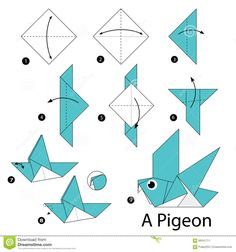 Step By Step Instructions How To Make Origami A Bird. Stock ...