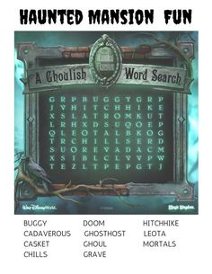 14 Free Disney Printables for Kids: Haunted Mansion Word Search Disney Day, Disney World Trip, Disney Trips, Disney Love, Disney Travel, Haunted Mansion Halloween, Disney Halloween, Halloween Diy, Disney Themed Games