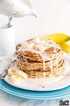 Easy to make, Whole Wheat Banana Pancakes drizzled with a caramel glaze! Find the recipe on www.cookwithmanali.com