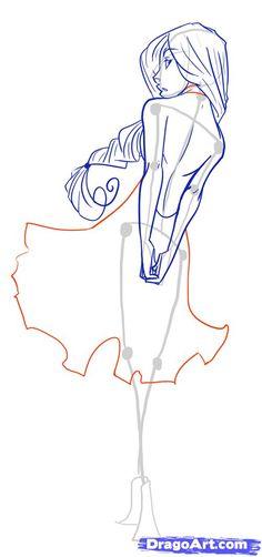 Kadın pozu çizimi. Robe Vetement dos corps