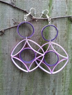 Eco- Friendly Paper Quilled Earrings Large Geometric - Purple - quilling earrings, paper quilled earrings, paper quilled jewelry, gift idea