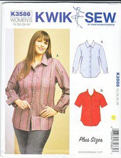 c69d053da39 Kwik Sew Sewing Pattern 3586 K3586 Women s Plus Size 1X-4X Button Front  Shirt Sleeve Options