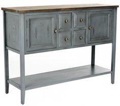 Charlotte Sideboard - Distressed Light Blue Washed  for under our tv