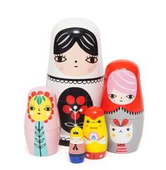 Fleur and Friends Nesting Dolls by Suzy Ultman for Petit Monkey. This colourful and modern matryoshka is hand painted and handmade which makes every set unique. Family Set, Matryoshka Doll, Newborn Baby Gifts, Baby Kind, Wooden Dolls, Suzy, Handmade Wooden, Decorative Items, Unique Gifts