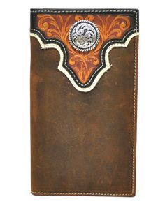 Ariat Rodeo Genuine Leather Western Men's Wallet w/Concho-Tan Leather Carving, Leather Tooling, Leather Bags, Custom Wallets, Custom Leather Belts, Picture Holders, Checkbook Cover, Leather Journal, Rodeo