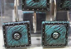 Western Tooled Turquoise Shower Curtain Rings 12 Piece