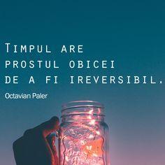 Timpul are prostul obicei de a fi ireversibil. Mason Jars, Motivational Quotes, Thoughts, Humor, Words, Tableware, Instagram, Alba, Motto