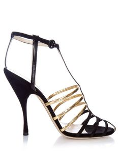 Nina Ricci Cut-out cage suede sandals