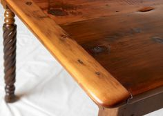 8FT ANTIQUE HARVEST TABLE WITH BARLEY TWIST LEGS