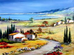 A bright landscape close to a blue, blue, blue sea . Landscape Drawings, Watercolor Landscape, Landscape Art, Landscape Paintings, Landscape Photography, Watercolor Paintings, Paintings I Love, Beautiful Paintings, Beautiful Landscapes