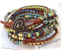 The Perfect Boho Seed Bead Leather Wrap door AZJEWELRYBYELIZABETH