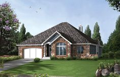Well designed one level, 3 bedroom Cottage style home.  House Plan # 321391.