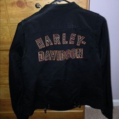 Authentic Harley Davidson Riding jacket XL ladies Excellent/brand new condition. Nylon, not leather. Worn three times on rides. All crystals in brand new condition as well. Beautiful! Harley Davidson Jackets & Coats