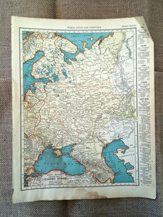 1937 Map of Eastern Europe & Asia. Vintage Maps Historical
