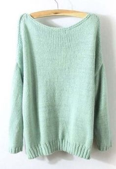 loose mint green pullover.