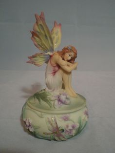 Pacific Giftware Winged Fairy Trinket Box Flowers and Dragonfly decorations 6986