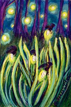 Fireflies Signed Metallic Art Print by NouveauNiche on Etsy
