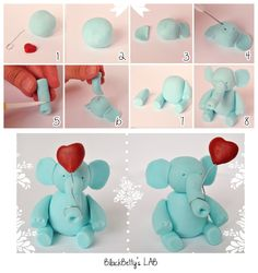 BlackBetty'sLab: cute elephant with heart balloon cake decorating figure tutorial