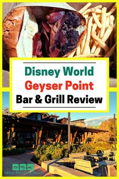 If you're staying at Disney's Wilderness Lodge Resort in Orlando - or visiting the Magic Kingdom - then a great place to eat is the Geyser Point Bar and Grill. Find out why in this Disney World restaurant review. This is an outdoor restaurant, with some covered seating with fans & other tables nearby with great views of the hotel. Learn what we thought of the menu items, like the bison burger and the turkey sandwich. And see how we managed to see the Magic Kingdom fireworks from Geyser Point! Disney World Restaurants, Walt Disney World Vacations, Disney World Resorts, Vacation Deals, Dream Vacations, Magic Kingdom Fireworks, Disney World With Toddlers, Outdoor Restaurant, Orlando Resorts
