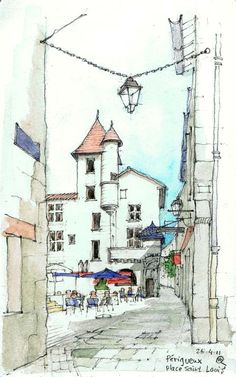 Maarten Ruijters Périgueux, Place Saint-Louis Pencil and watercolor on Moleskine watercolor paper cm Pen And Watercolor, Watercolor Landscape, Watercolor Paintings, Watercolor Trees, Watercolor Portraits, Abstract Paintings, Watercolours, Building Sketch, Building Art