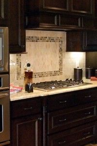 white subway tile with glass accent backsplash | our house