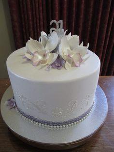 Elegant orchid 21st birthday cake
