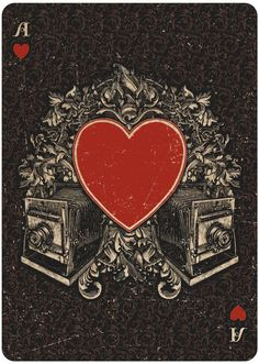 Ace of Hearts - Oracle: Mystifying Playing Cards by Chris Ovdiyenko. Capturing the rich history of the spiritualist movement - including talking boards, spirit photography, seances, ectoplasm, and levitating tables.