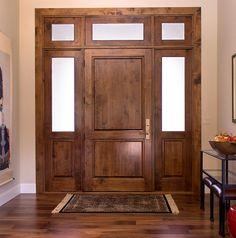 Custom Knotty Alder wood entry door. Made by Westgate Hardwoods in California. & Knotty Alder Cabinets. Beautiful Dark Kitchen Cabinets Design ...