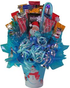 christmas Snowman Bouquet consist of:2 large holiday chocolates, 14 fun size chocolate bars, 2 suckers and 1 fruit flavored candy cane.