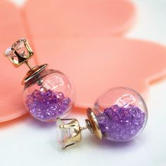 Double Faced #Stud #Earring, with Glass & Resin #Rhinestone, More Colors.