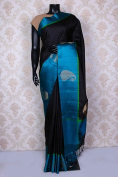 Black pure silk saree with zari weaved pallu -SR14979 #silksaree #zarisari