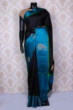 Black pure silk saree with zari weaved pallu -SR14979 #silksaree #zarisari