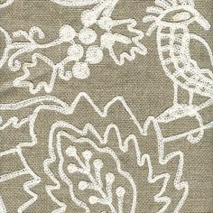 Perched Linen Floral Embroidered Drapery Fabric