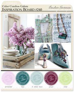 Color Combo Challenge #240: lavender - teal - lt steel blue - plum - lime ; #colorcombosgalore ; #ccg240