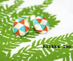 Stud earrings Cover button earrings with by RiikkaLuoDesigns Button Earrings, Stud Earrings, Covered Buttons, Scandinavian Design, Fabric Patterns, Handmade, Etsy, Color, Colour