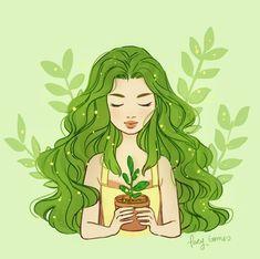 Cute Kawaii Drawings, Cartoon Drawings, Illustration Girl, Graphic Design Illustration, Earth Drawings, Character Art, Character Design, Arte Sketchbook, Plant Art