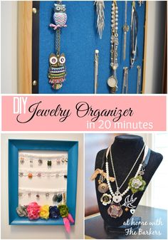 Spray Painted DIY Jewelry Organizer- Eyelet Lace - At Home with The Barkers Jewellery Storage, Jewellery Display, Jewelry Organization, Organization Hacks, Earring Display, Keep Jewelry, Jewelry Making, Do It Yourself Jewelry, Diy Schmuck