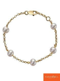 A gorgeous 14k Yellow Gold Pearl Chain Bracelet from Gabriel & Co. We absolutely love pearls along with a Yellow Gold metal! To check out all of our beautiful bracelets and bangles, go to our website www.gabrielny.com!
