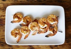 Grilled Sesame-Marinated Shrimp Skewers - A great-tasting, light, main course that can be served with any salad or accompaniment. Steamed Shrimp, Marinated Shrimp, Grilled Shrimp Recipes, Shrimp Skewers, Seafood Recipes, Chef Recipes, Great Recipes, Cooking Recipes, Favorite Recipes