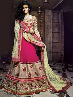 Pink and Cream Net Lehenga Choli with Resham Embroidery Work