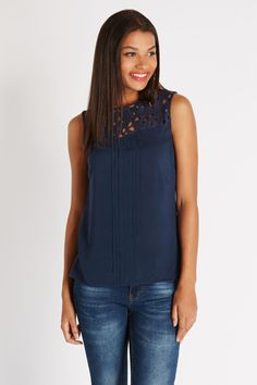 Lace Trim Pintuck Shell Top